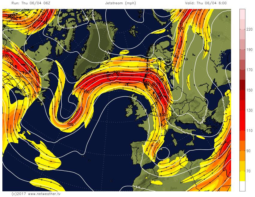 Pronóstico de Jetstream en el hemisferio norte.